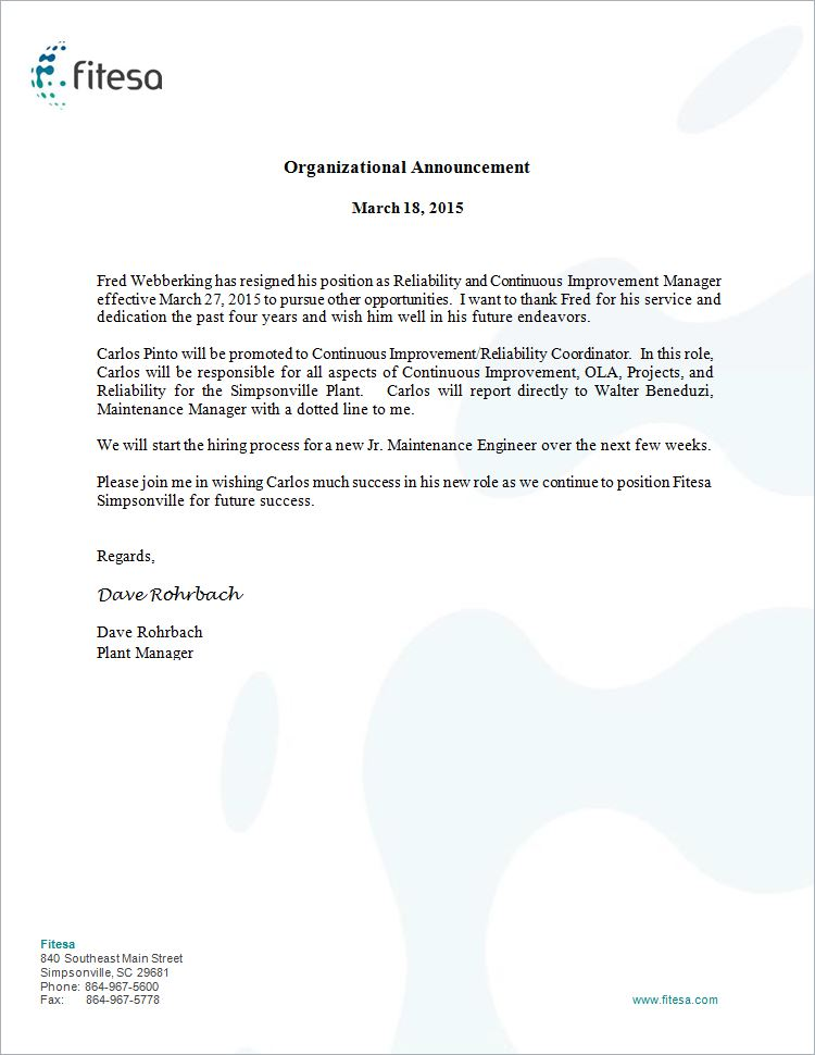Organization Announcement Letter Fitesa