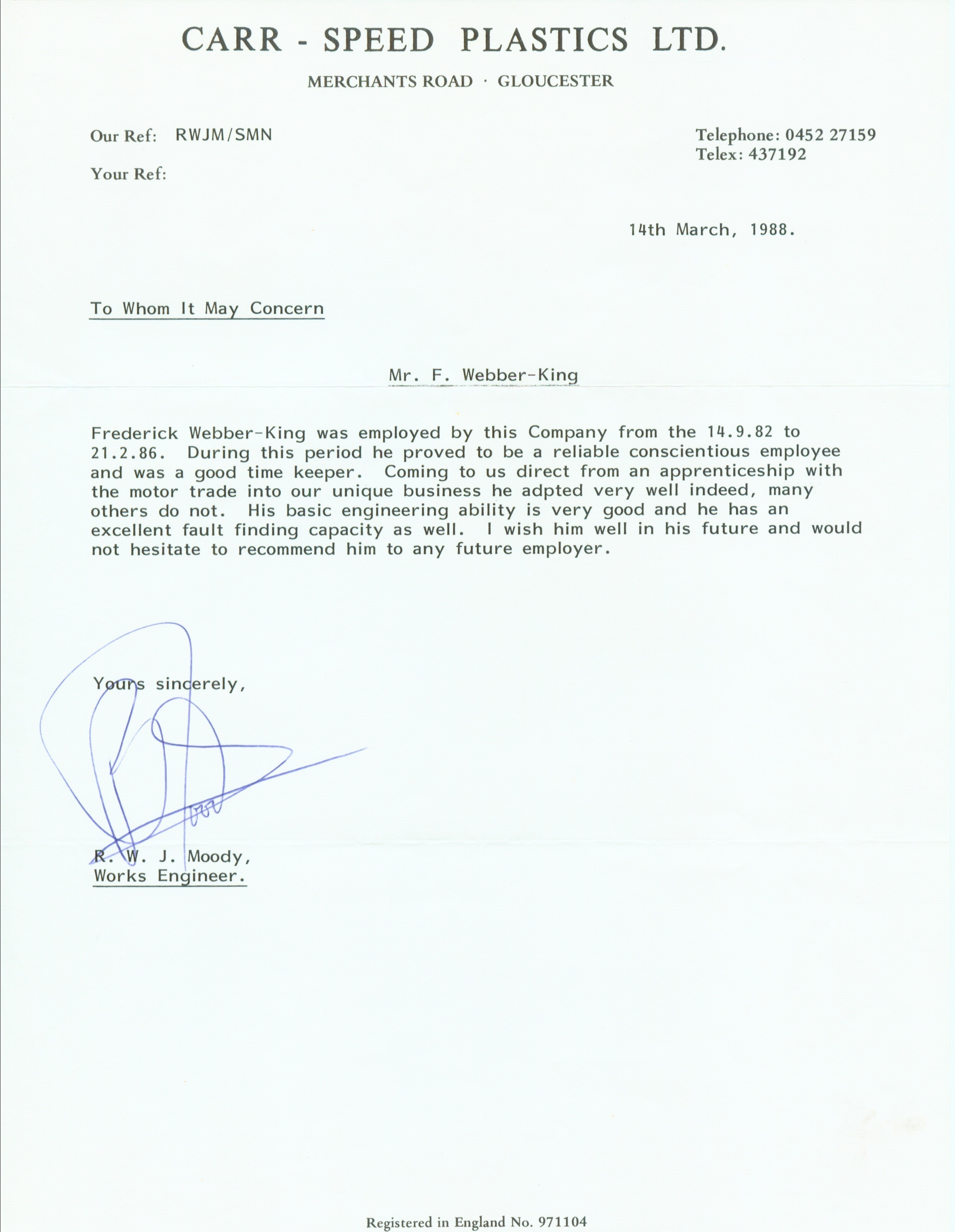 Reference Letter Carr-Speed Plastics - Richard Moody