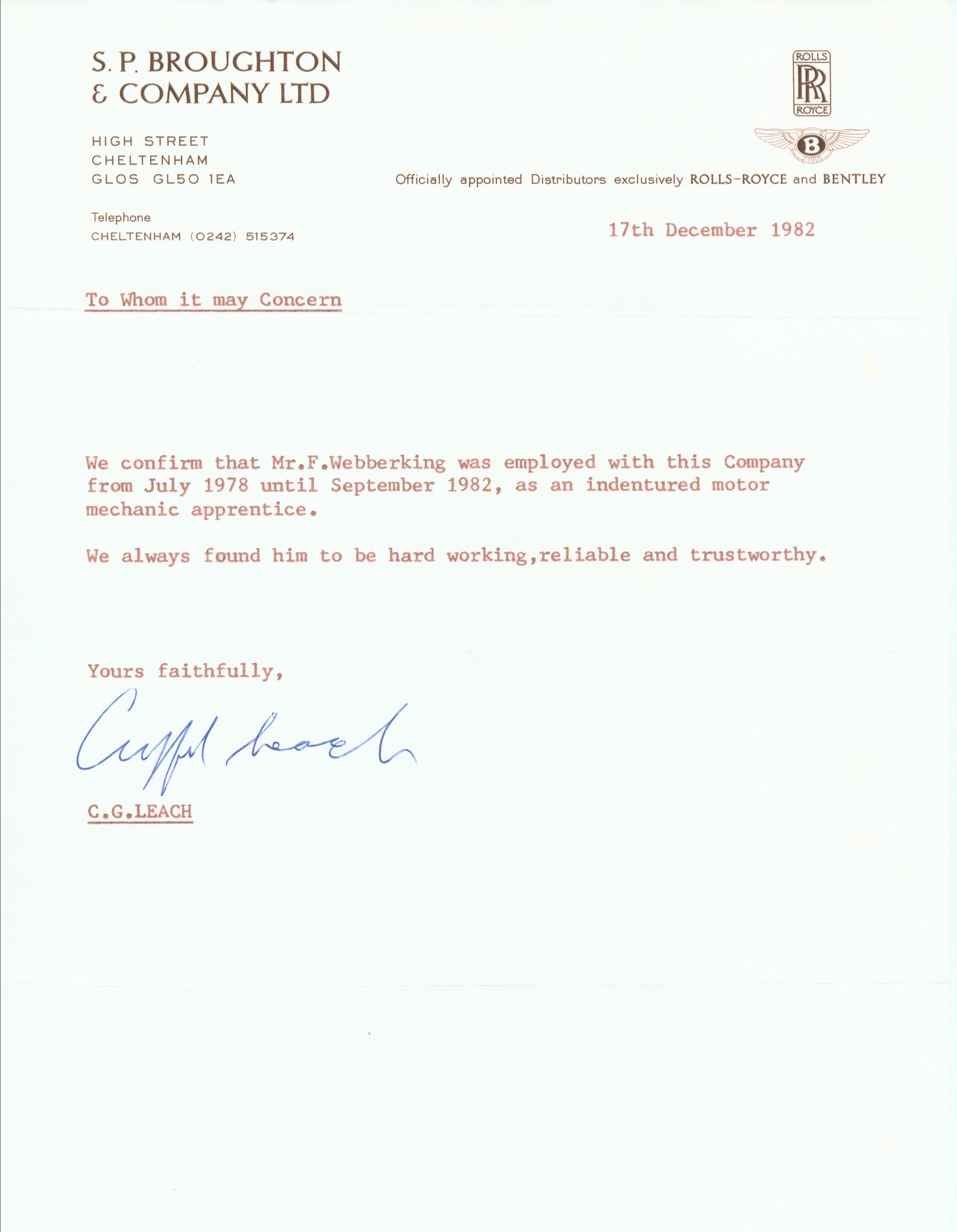 Reference Letter SP Broughtons - Clifford Leach