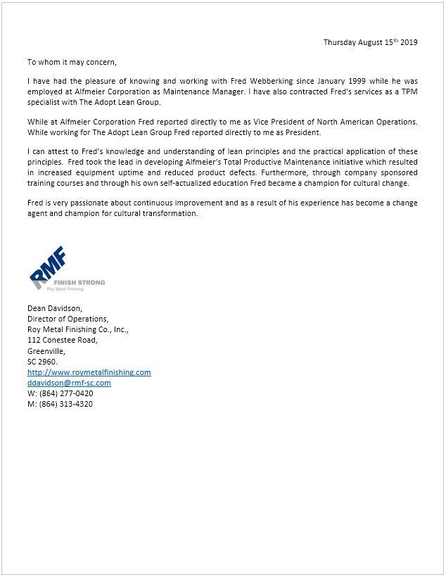Reference Letter - Alfmeier - Dean Davidson 2