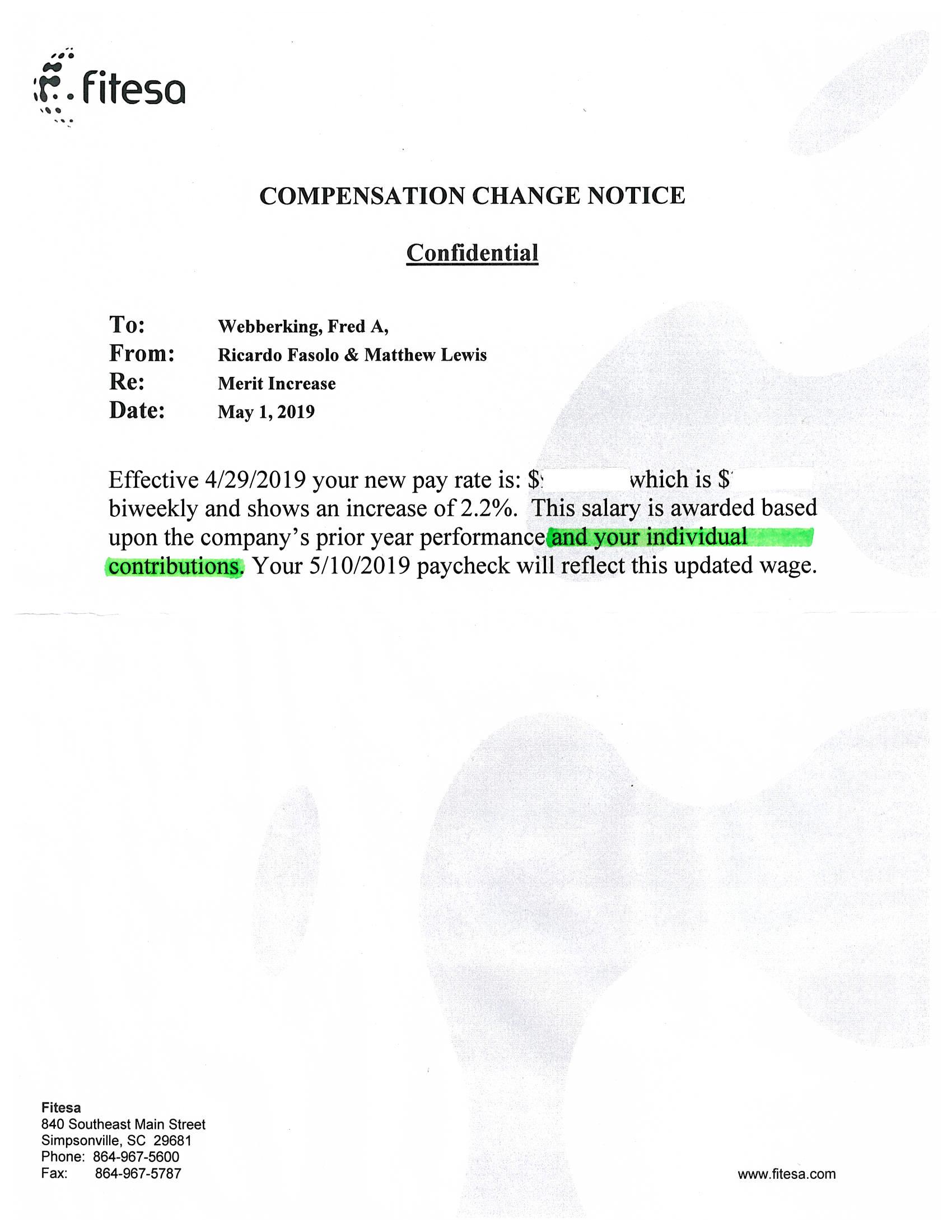 Reference Letter - Fitesa - Compensation Change Notice 2019