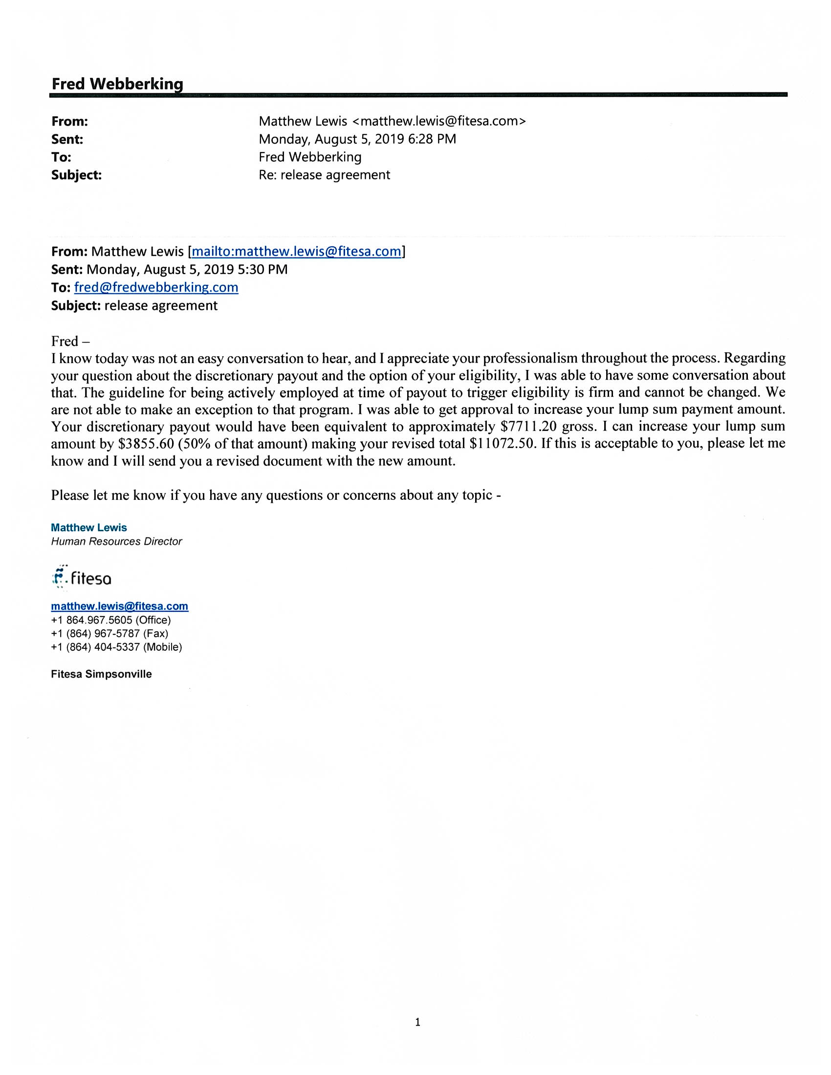 Reference Letter - Fitesa - Mathew Lewis