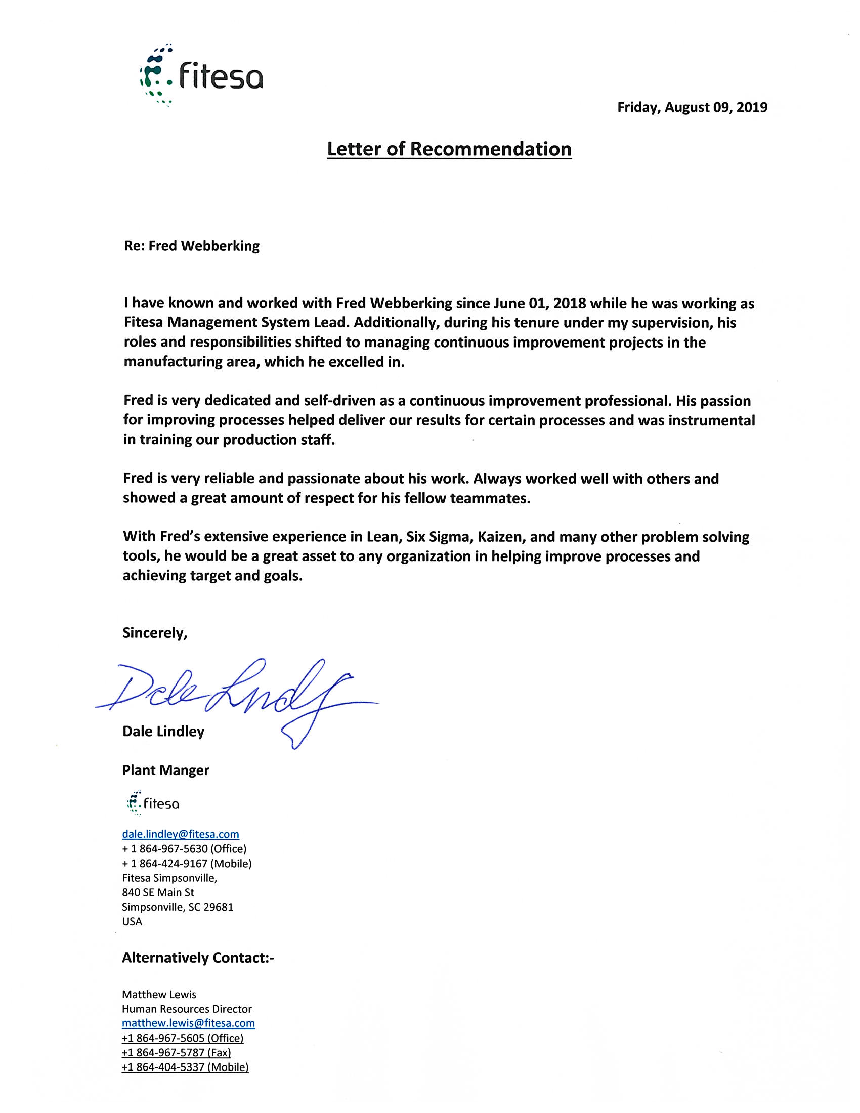 Reference Letter - Fitesa - Dale Lindley