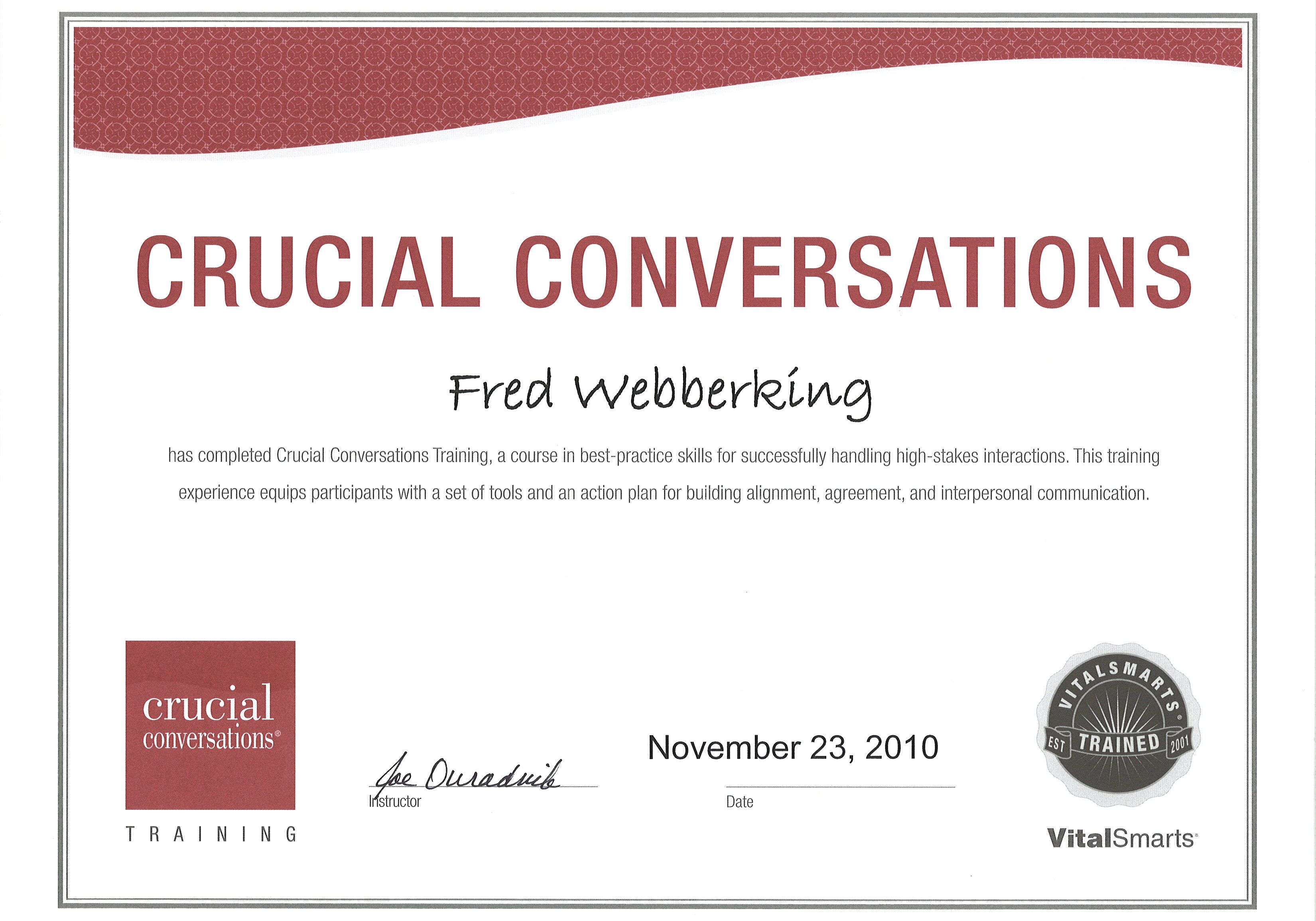 Crucial Conversations Certificate Thumbnail